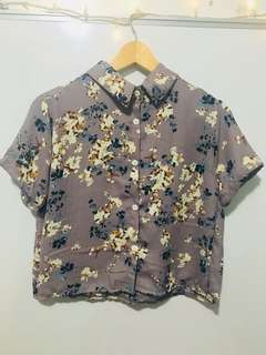Floral semi cropped polo