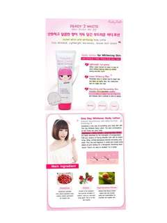 😍NOW: $9.95!🌹KOREAN HIT!!! 🌹 TRANSFORM TO FAIR BABE INSTANTLY & IN THE LONG RUN!! 🕊 GLUTATHIONE + ARBUTIN + SNAIL SECRETION EXTRACT FOR POWERFUL WHITENING RESULTS U MUST TRY!!! 🕊 🌹 ❤FULL SIZE❤ Cathy Doll Ready 2 White Body Whitening Lotion (150ml)