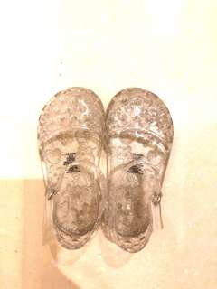 Old navy clear glitter baby jelly shoes