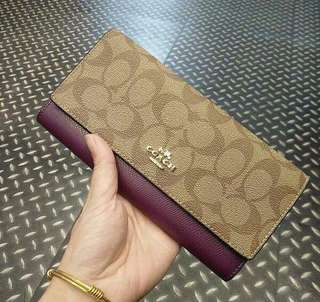 COACH SIGNATURE LONG WALLET  FURSCHIA & MAUVE COLOR