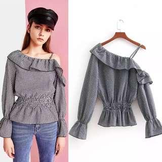 2018 Spring & Summer New Plaid Ruffle Asymmetrical Off Shoulder Shirt Women Plaid Shirt