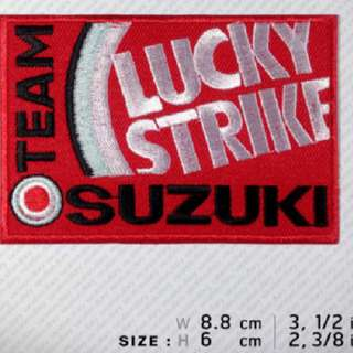 LUCKY STRIKE TEAM SUZUKI Embroidered Patch Iron on, Sew on VIBRANT COLOR ,last pc left dont miss out!