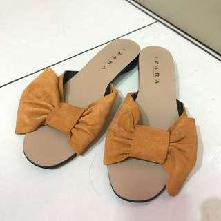 Zara trf bow caramel sandal
