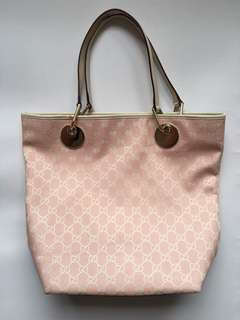 Authentic Gucci GG Pink Canvas Tote Shoulder Bag