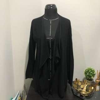 H&M basic black drape cardigan