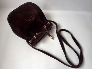 Authentic Longchamp Suede Leather Small Bucket Drawstring Bag