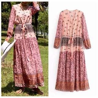 Bohemian Resort Wind Print Waist Ribbon Hollow V-Neck Long Sleeve Dress Large Skirt