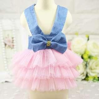 🚚 寵物衣服 夏季裙子 吊帶裙 狗衣服吊帶網紗裙 牛仔粉色吊帶裙