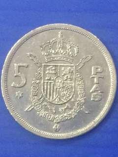 Spain 5 PTAS Y1975