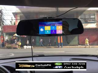 Touchscreen rear mirror with dashcam and reverse cam