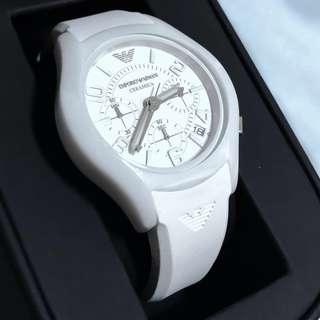 (Like New)Armani White Ceramic Chronograph Watch
