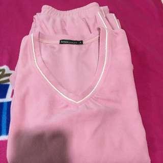 bossini粉色V領休閒刷毛套裝(衣+褲)