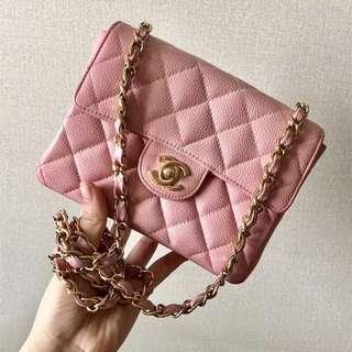 Chanel Vintage 粉紅色荔枝皮 Mini Flap 17cm