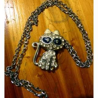 Cat Rhinestone Necklace