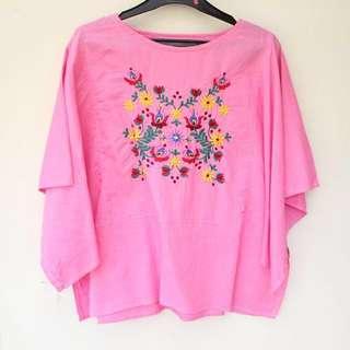Preloved Hot Pink Floral Linen Blouse