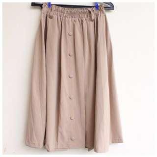 Brand New Khaki Button Midi Skirt