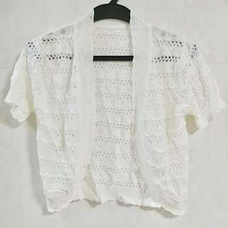 白色通花針織小外套 冷衫 褸