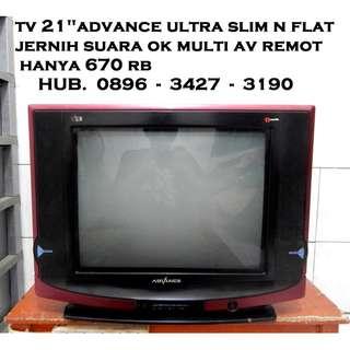 "Tv 21""U SLim N FLat AdVance Mulus Jernih Remot KATAPANG SOREANG"