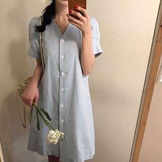 South Korea ins Simple Retro Loose Single-breasted V-Neck Short Sleeve Dress