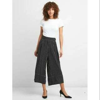 Brand New GAP Black Stripes Wide Leg Culottes