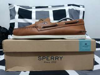 Sperry A/O 2-Eye Cross Lace Tan Leather Boat Shoes