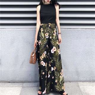 Summer vacation high waist color wide leg pants
