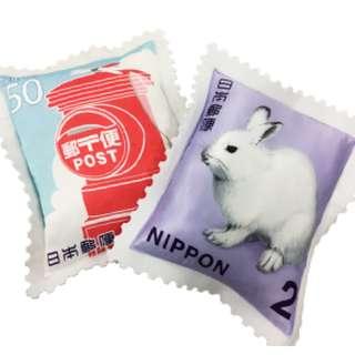 日版限定 不議價 仿日本郵票靠墊 cushion (郵筒version/北海道雪兔version)