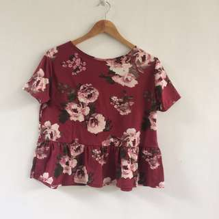 Floral Peplum Style Top
