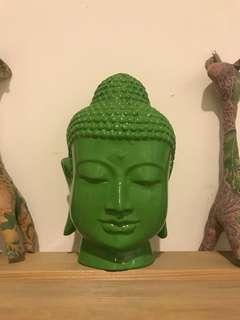 Buddha Head in Green