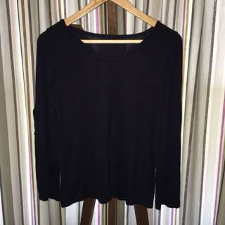 Navy Slit-Arms Top