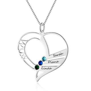 Customised Heart Birthstone Name Necklace Personalised Family Gift Jewelry