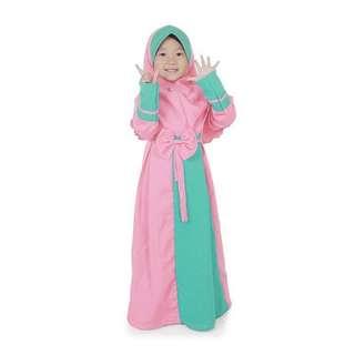 Baju muslim anak / gamis anak set kerudung