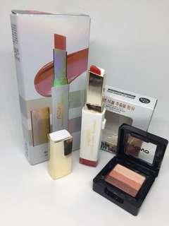 Novo Double Color Lipstick & 3 Color Eyeshadow