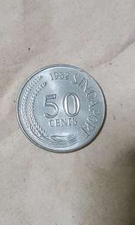 Old 1982 S'pore 50 Cents Coin