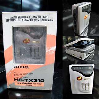 HARD TO FIND -VINTAGE COLLECTABLES '80s BRAND NEW OLD STOCK AIWA AUTO-REVERSE WALKMAN CASSETTE PLAYER WITH RADIO (NEED REPAIRS PROBABLY REPLACE CASSETTE BELTING) COST OVER $150 WAREHOUSE CLEARANCE $30