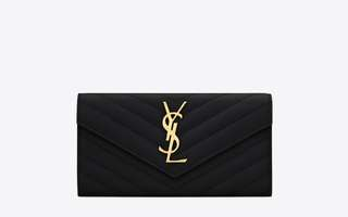 AUTHENTIC NEW YSL LARGE FLAP WALLET IN TEXTURED MATELASSÉ LEATHER