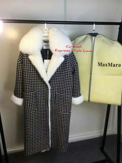 Max Mara Fall/Winter black and white houndstooth long coat with fur