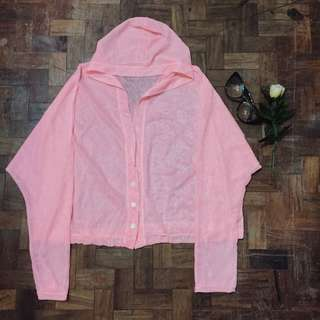 pink see through hoodie long sleeves