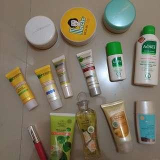Garnier, acnes, wardah, sariayu, marcks