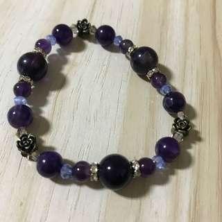 Natural stone beads bracelet - purple