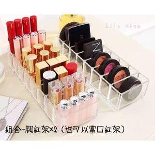 🚚 【lily shop】⚠️現貨  catie推薦 透明壓克力 粉餅收納盒 口紅架 指甲油 眼影架 腮紅架 展示架
