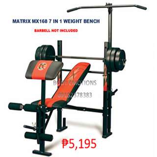 MATRIX MX168 7 IN 1 WEIGHT BENCH PRESS - 5,195 (barbell set not included)