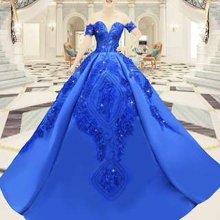 Blue ball gown with trail off shoulder