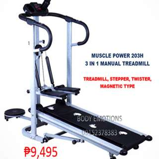 MUSCLE POWER 203H 3WAY MANUAL MAGNETIC TREADMILL