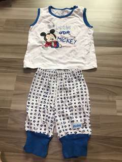 bn disney mickey 6-12m cotton baby pants and top set