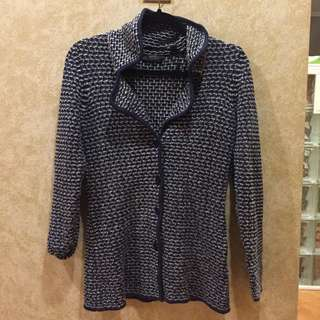 Beautiful tweed cotton knit blue white button cardigan s