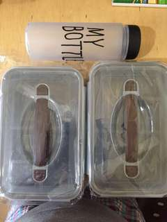 Lunch box Food containers 2 and water bottle