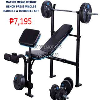 Matrix mx268 Weight Bench Press with barbell and dumbbell
