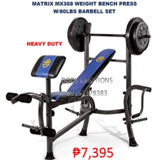 Matrix mx368 Heavy Duty Weight Bench Press With Barbell Set