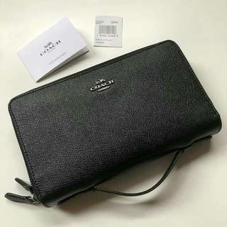 Coach Crossgrain Leather Double Zipper Travel Wallet (Black) Size 21x12cm (27 card-slots,fits 2 hp,passport slot)